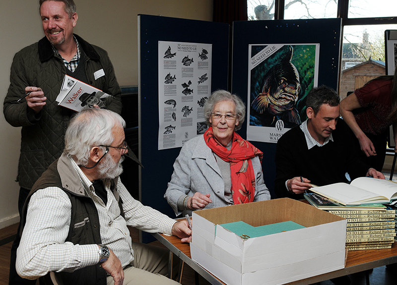 Anthony Chillingworth getting his copy of Richard Walker - Biography of An Angling Legend by Barrie Rickards - Medlar Press. www.medlarpress.com / Simon, Pat and Robert Walker